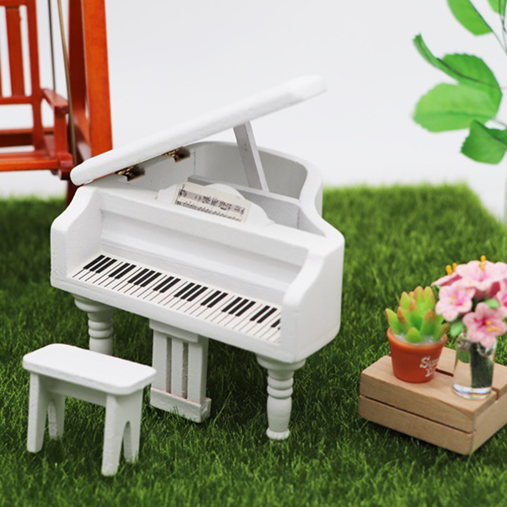 Simulation Furniture Toy Miniature Wooden Grand Piano Mini Doll Furniture Model For 1/12 Dollhouse  HOOLER
