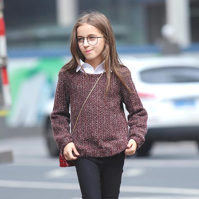 Roupas quentes Meninas Camisola de Inverno de Espessura Crianças Juventude Crianças Torcida padrão de Outono Pulôver de Malha Solta Top Para 14 15 16 anos