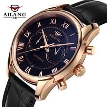 AILANG Marca Negocio de La Moda masculina Relojes Hombres correa de Cuero Impermeable Reloj mecánico Automático Para Hombre Reloj de hombre reloj