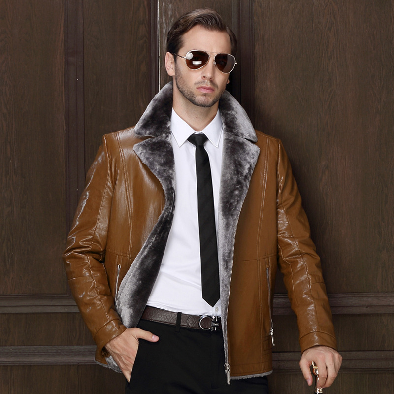 Winter sheepskin leather motorcycle fur suit collar Quality jacket thick fleece leather coat high quality jaqueta