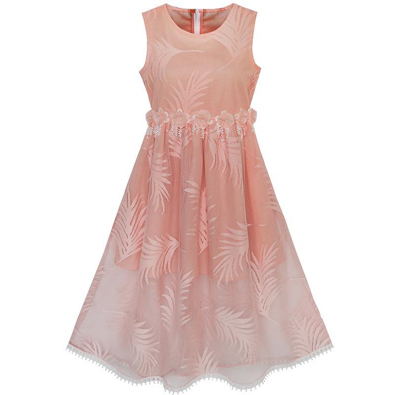 R 2158 49 De Descontosunny Fashion Vestido Menina Lace Folha Imprimir Elegante Princesa Festa Casamento In Vestidos From Mãe E Filhos On