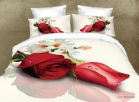 BEST.WENSD Quality 3d digital printing duvet cover+Sheet+pillowcase pillowslip bed sack wedding bedclothe red rose bed cover set