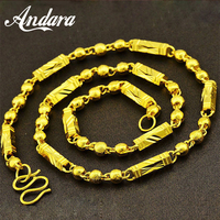 24K Gold Men Necklaces Top Quality 6mm/7mm Width 55/60cm Gold Color No Fade Chain Necklaces For Male Jewelry Gifts