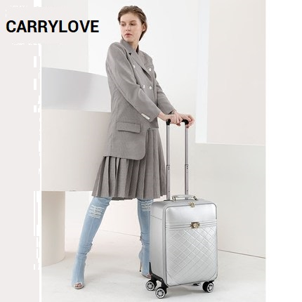 CARRYLOVE High quality fashion classic luggage 16/20/24 size PU Rolling Luggage Spinner brand Travel Suitcase цена