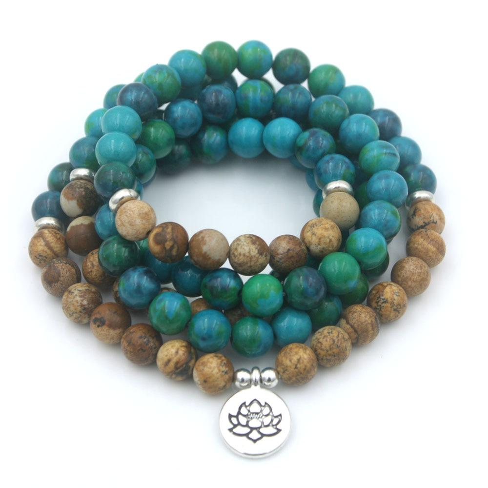 108 beads Natural stone strand elastic bracelet yoga jewelry