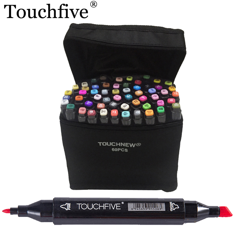 TOUCHFIVE 30 40 60 80 Colors Markers Sets Dual Tip Alcohol Sketch Marker Coloring Drawing Underlining Manga Dessin Art Supplies touchfive colors twin tip pen marker point