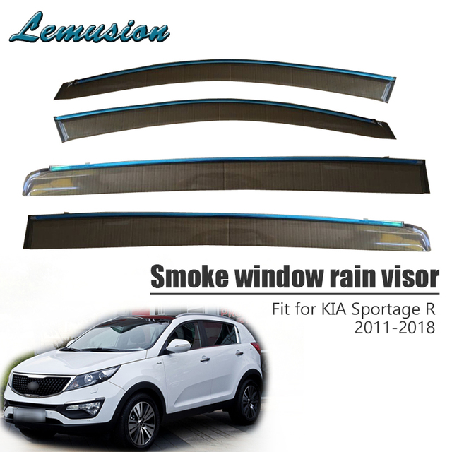 High Quality 4pcs Smoke Window Rain Visor For Kia Sportage R 2011 2012 2013  2014 2015 2016 2017 2018 Vent Sun Guard Accessories 5b0c40aa456
