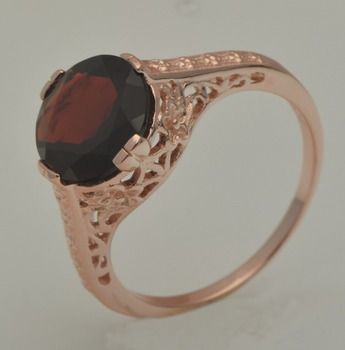 Unique custom free shipping Noble luxurious rose gold pomegranate stone fashionable woman 925 silver rings