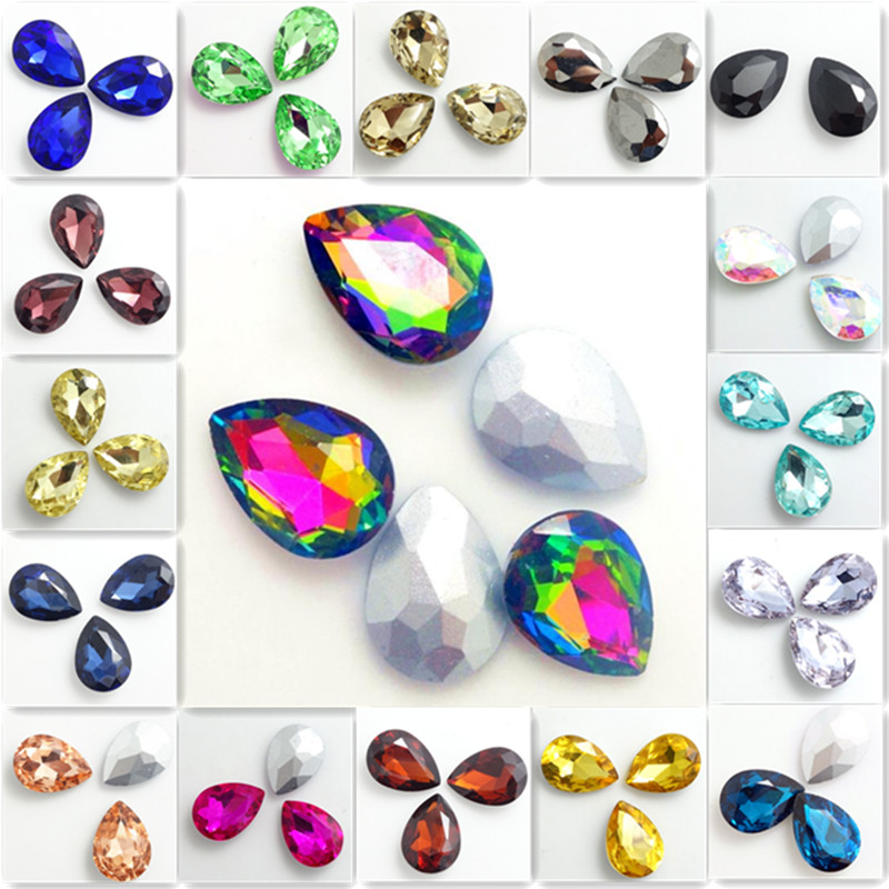 10 Stücke Facettierte Kristall Glas Strass Teardrop Lose Perlen Schmuck Machen 13x18mm Neueste Technik