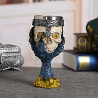 Stainless Steel Retro Coolest Resin Skull Goblet Claw Wine Glass Gothic Cocktail Glasses Wolf Whiskey Cup Party Bar Drinkware