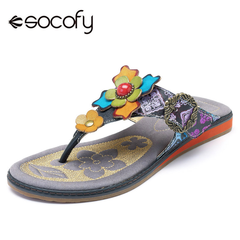 Socofy Bohemian Flip Flops Summer Outdoor Beach Slippers Genuine Leather Casual Women Shoes Clip Toe Hook Loop Vintage Slippers socofy bohemian genuine leather shoes women sandals vintage printing forest hook loop wedge heel women slippers summer new