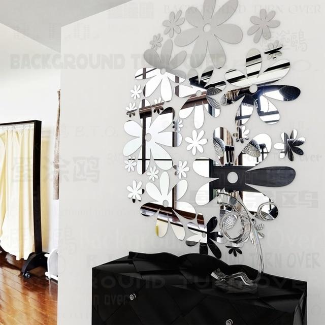 diverse kleuren diy lente natuur bal bloem spiegel plafond muurstickers voor lounge slaapkamer winkel winkels venster