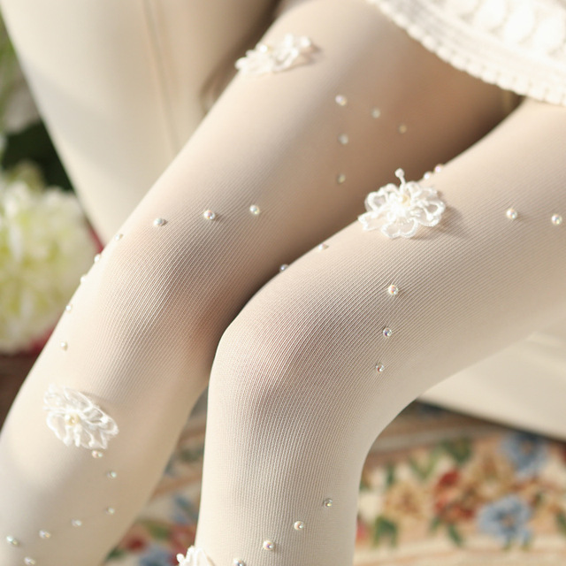 Spring and Autumn new beautiful handmade three-dimensional flower pearl tights Women sweet thin tights