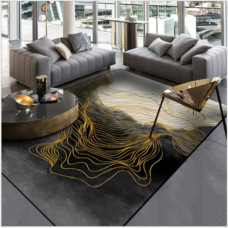 US $12.31 22% OFF|AOVOLL Modern Abstract New Chinese Black Ink Gold Line  Door Mat Carpet Bedroom Rugs For Bedroom Carpet Kids Room Kitchen Mat-in ...