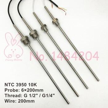 """2x Sensor de temperatura del Termistor NTC 3950 10K SUS304 6mm * 200mm/100mm sonda 200mm cable-40 ~ 150 grados hilo G 1/2 G1/4"""""""