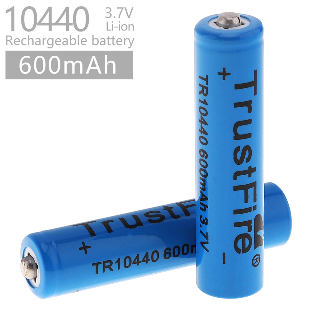 2pcs/lot TrustFire 3.7V 10440 600mAh Li-ion Rechargeable Battery for LED Flashlights Headlamps with 1000 Cycle image