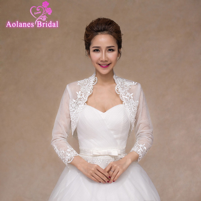 Elegant Lace Wedding Bolero Jacket High Neck Long Sleeve Appliques Tulle Bridal Jacket Cap Sleeves Wedding Accessories 2017
