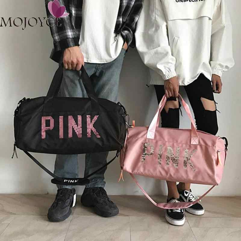 ... Ladies Black Travel Bag Pink Color Sequins Shoulder Bags Women Portable  Nylon Waterproof Handbags Large Capacity ... dc506e0aad