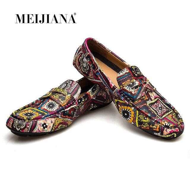 MEIJIANA מותג עור גברים דירות 2018 חדש גברים נעליים יומיומיות באיכות גבוהה נהיגה נעלי צבעוני אופנה סירת נעליים