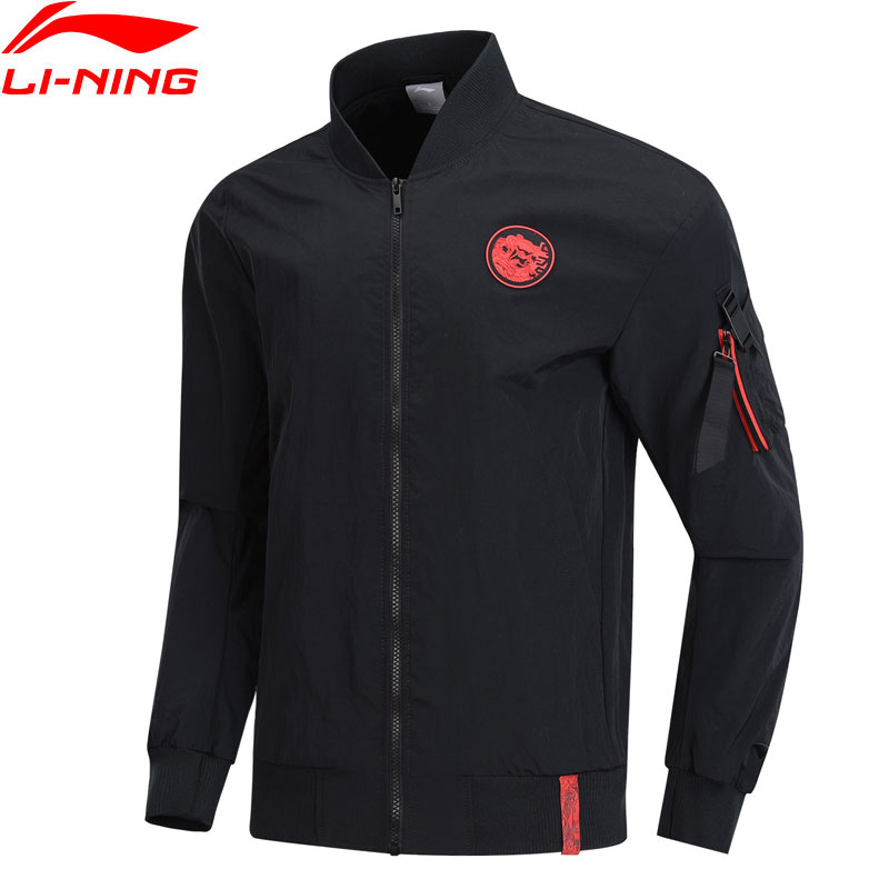 Li-Ning Men The Trend Jacket Loose Fit Nylon Polyester Embroidery LiNing Li Ning Sports Bomber Jackets Coats AJDP007 MWJ2597