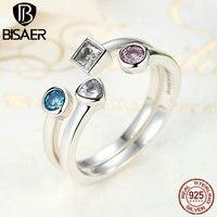BISAER New Arrival 925 Sterling Silver Statement Finger Ring Set With Clear CZ Vintage Ring For