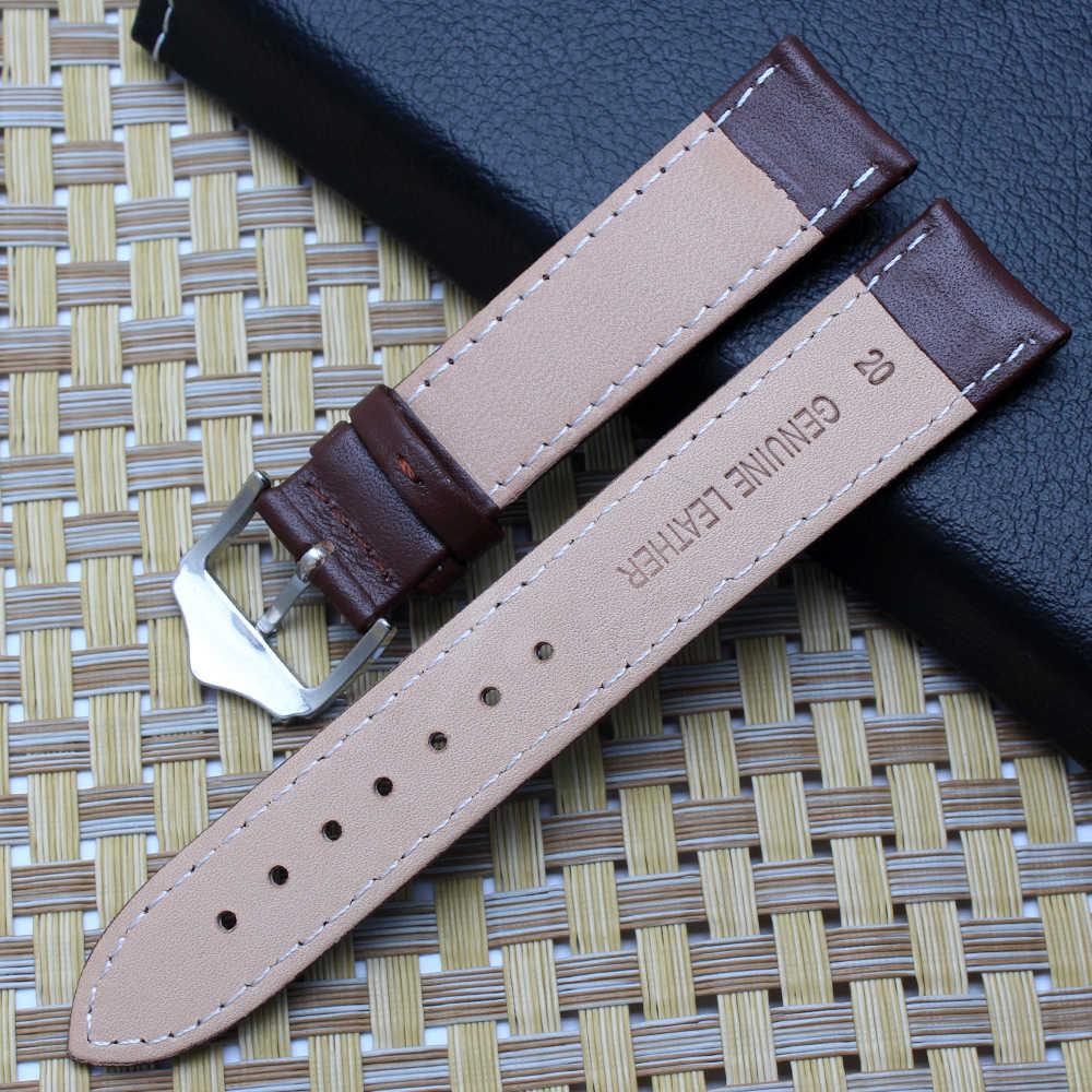 Kwaliteit lederen horlogeband 12mm 14mm 16mm 18mm 19mm 20mm 21mm 22mm bruin vervanging polsband voor tissot/casio