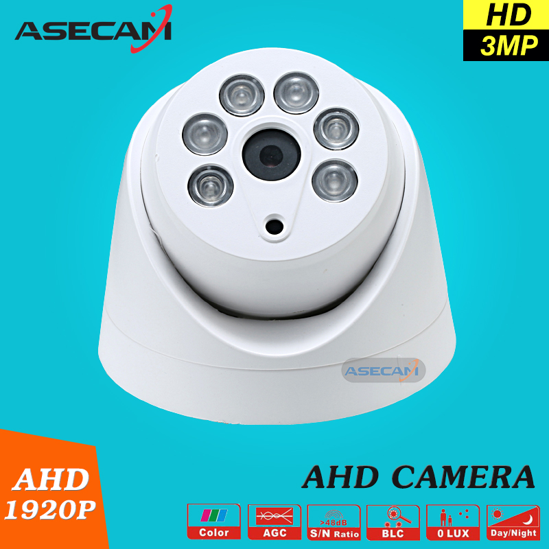 New Home 3MP Super HD AHD 1920P Camera Security CCTV White Mini Dome 6pcs Array infrared Night Vision Surveillance Camera new home 2mp hd ahd 1080p camera security cctv white dome 2pcs array infrared night vision surveillance camera ahd h system