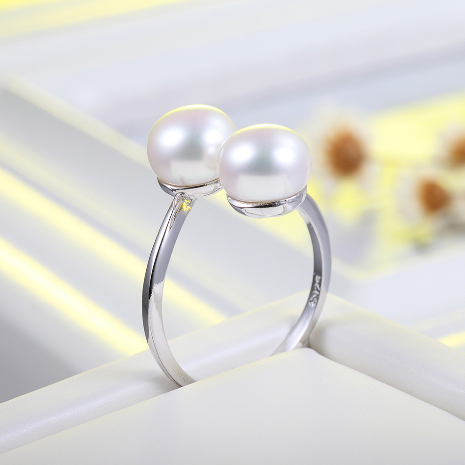 Fine Jewelry Freshwater Pearl Ring for Women Engagement Jewelry 8 9MM White Pearl Classic Design Finger Ring Wholesale FEIGE in Rings from Jewelry Accessories