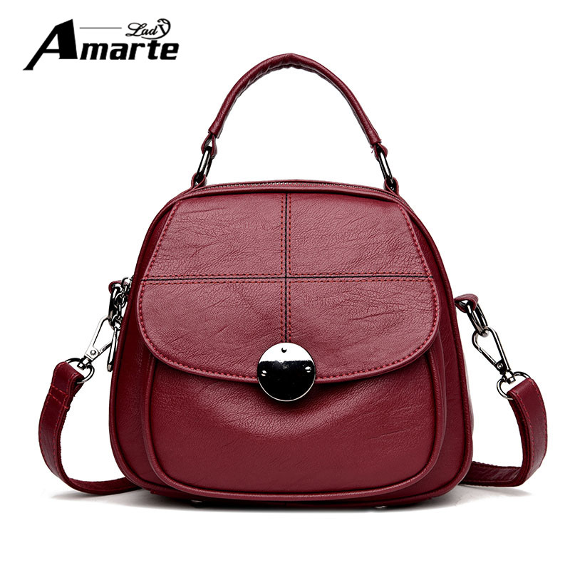 New Fashion Women Leather Backpacks 2017 Luxury Designer Women Solid Shoulder Bag for Female Hand bags