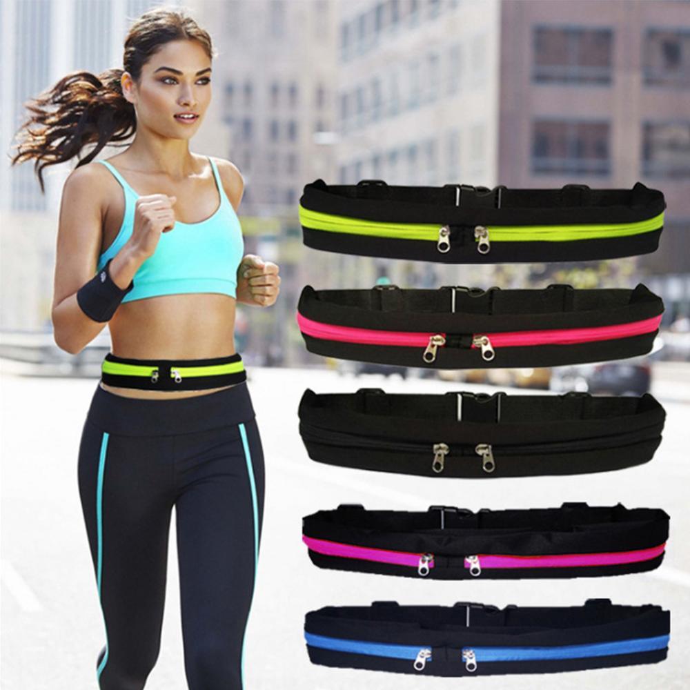 Dual Pocket Running Belt Phone Pouch Sports Bag Running Waist Bag Sports Travel Fanny Pack Waterproof Anti-theft  Phone Bag
