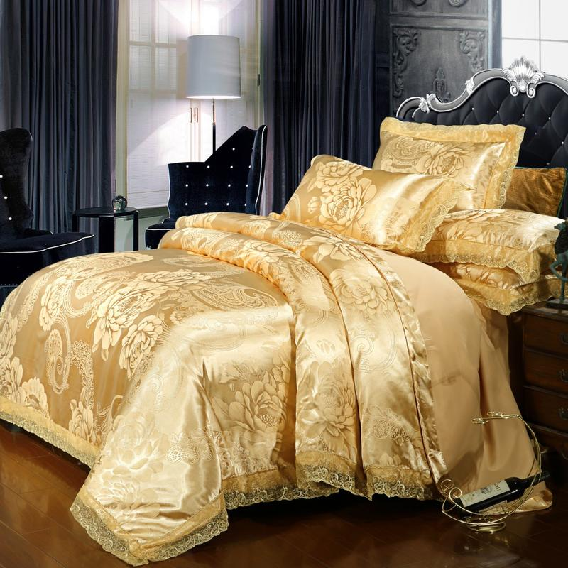 Lace edge Satin Duvet cover set Solid color Gold Beige Luxury Bedding 4Pcs Queen/King Size Bed set Cotton Bed sheet Pillow shamsLace edge Satin Duvet cover set Solid color Gold Beige Luxury Bedding 4Pcs Queen/King Size Bed set Cotton Bed sheet Pillow shams