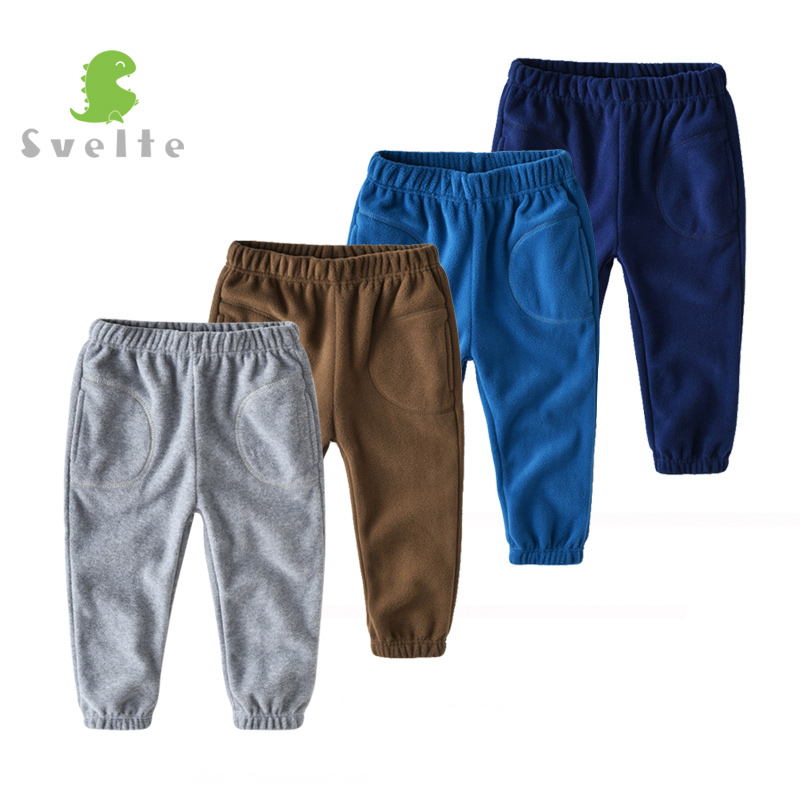 SVELTE 2-7 Yrs Boy's Thick Fleece Pant with 2 Pockets for Autumn Winter Chlidren Casual Solid Trousers Kids Joggers Sweatpants