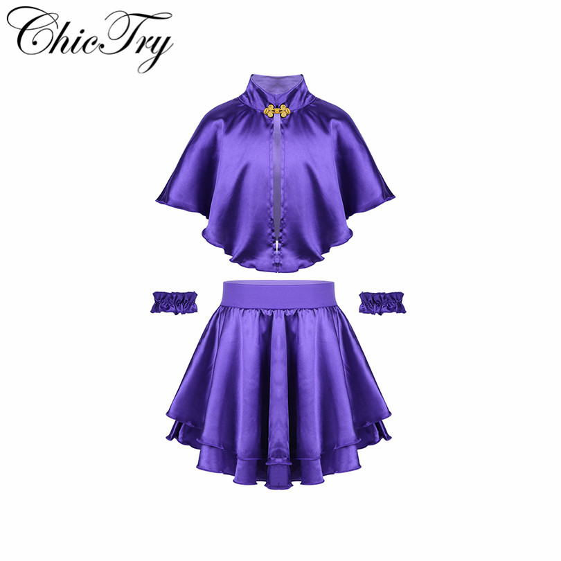 3PCS Kids Girls Children Cosplay Outfits Greatest Showman Anne Wheeler Costume Cape with Skirt and Wristband Fancy Party Dress