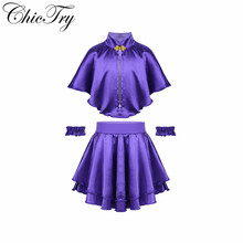 3PCS Kids Girls Children Cosplay Outfits Showman Role Play Party Costumes Cape with Skirt and Wristband Fancy Party Dress