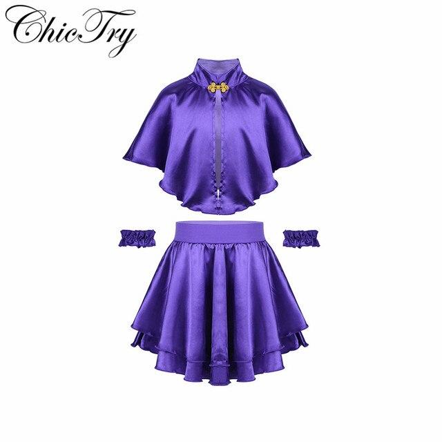 3PCS Kinder Mädchen Kinder Cosplay Outfits Showman Rolle Spielen Party Kostüme Cape mit Rock und Armband Phantasie Party Kleid