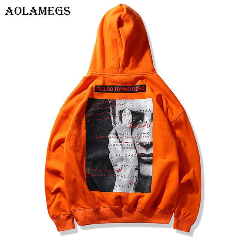 Aolamegs Толстовки Для мужчин изображение принтом пуловер с капюшоном Высокое уличный стиль Ретро хип-хоп Уличная большой карман с капюшоном О...