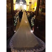 1 Layer 300cm, 350cm, 500cm Wedding Veil Lace Bridal Veils Long Veil In White ,Ivory