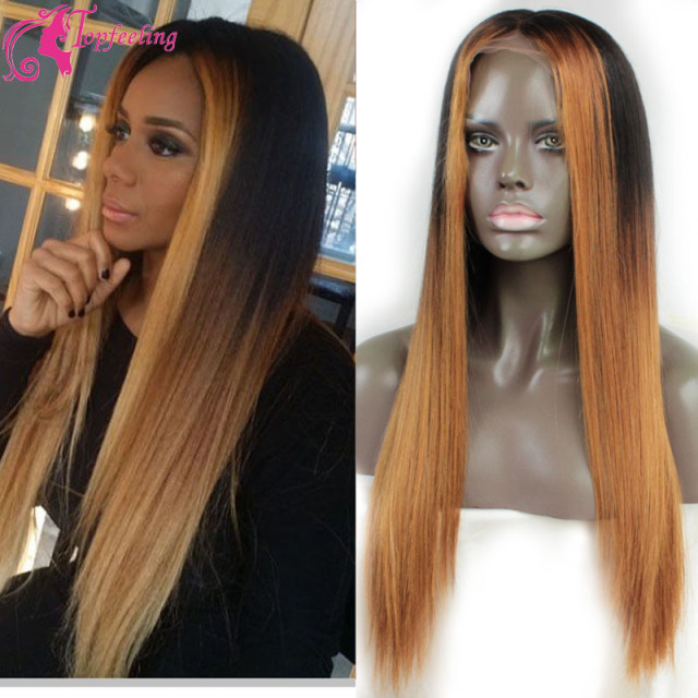 Two Tone Black Highlight Blonde Full Lace Human Hair Wigs Straight