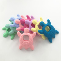 Chenkai 5PCS BPA Free Safe Silicone Turtle Teether Baby Shower Pacifier Dummy Teething Chewable Pendant Nursing DIY Jewelry Toy
