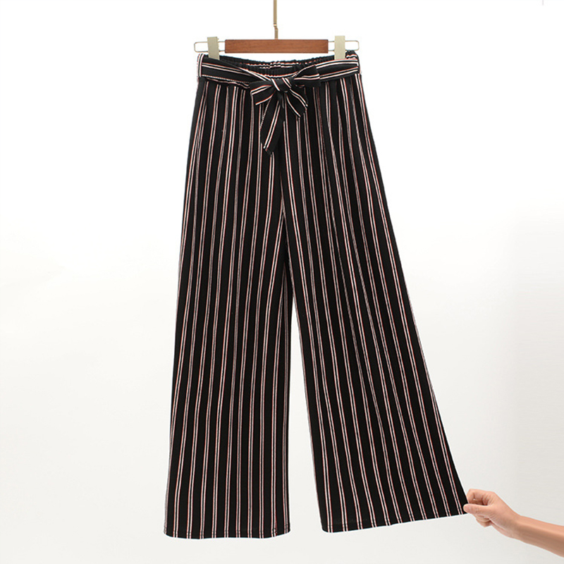 Navy Blue Wide Leg Cropped Pants 2019 Spring Summer Elegant High Waist Women Striped Pants Bow Tie Lace-up Loose Pants 6