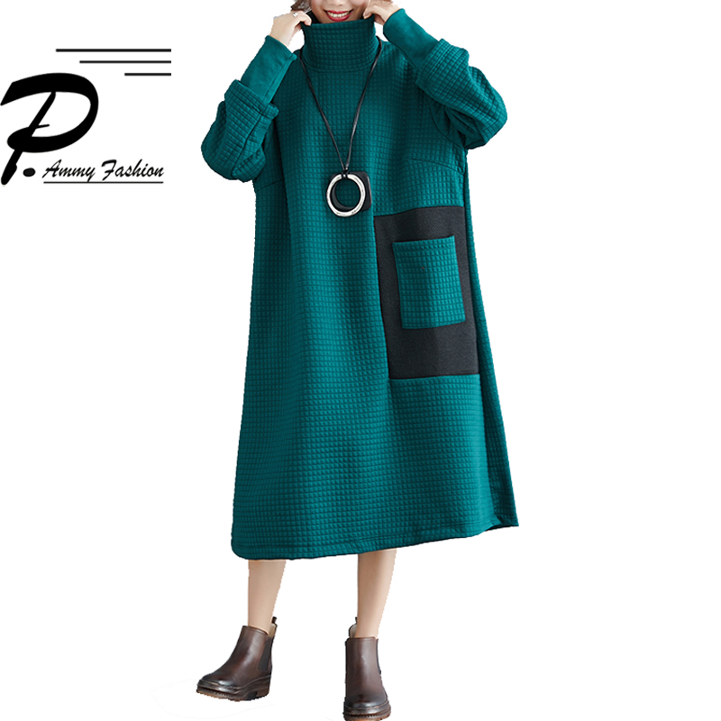 Plus Size Padded Cotton Turtleneck Long Sleeves Loose Jumper Dress Women  Autumn Winter Oversized Thick cotton bbb9ab8cd225