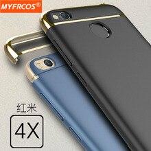 Case для xiaomi redmi 4x роскошь антидетонационных матовый 3 в 1 крышка Полная Защита ПК Для Redmi4X Случаи 4 Х Жесткий Мобильного телефона