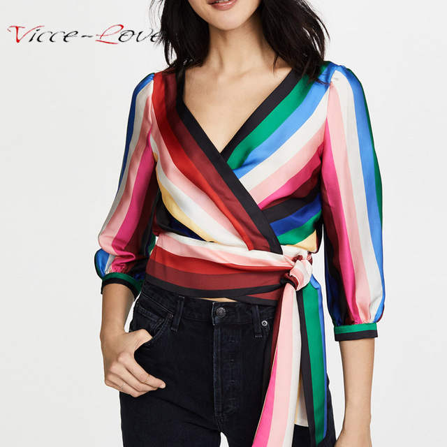Striped Sashes Shirt Women Chiffon Blouse Rainbow Color Waist Tops Chemise  Femme Chemisier Blusa Mujer Camisa