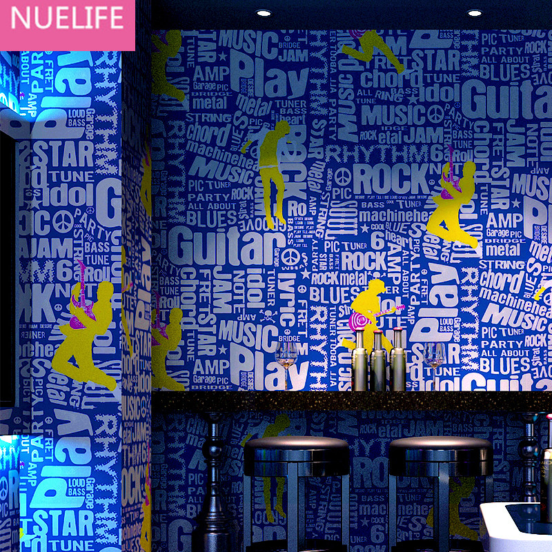 0.53x10m KTV wallpaper 3d personalized fashion  bar  theme room guitar social piano living room bedroom wallpaper free shipping personalized fashion figure puzzle 3d wallpaper salon bedroom wallpaper background bar ktv mural