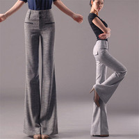 2019 Spring New Fashion Women's Flare Pants Office Ladies Cotton Linen Casual Pants Straight Trousers Stretch Slim Large Size