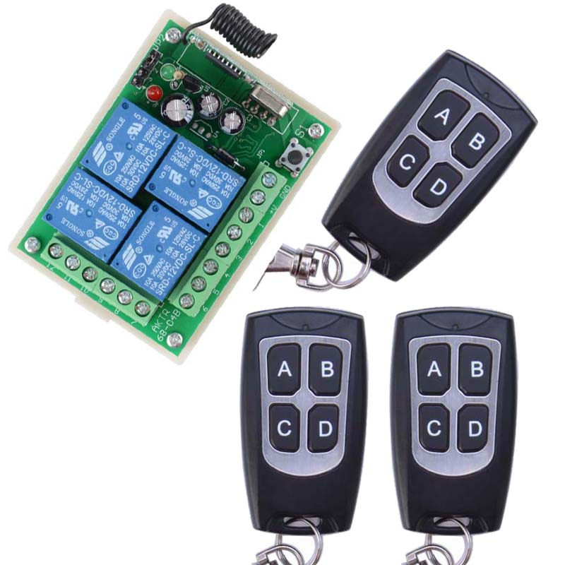 New 12V 4CH Channel 433Mhz Wireless Remote Control Switch With 3 Transmitter Free Shipping