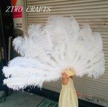 Большой страусиные перья вентилятор с бамбуковыми карнизы для танца живота halвечерние loween Party орнамент Декор необходимо, 13 костей