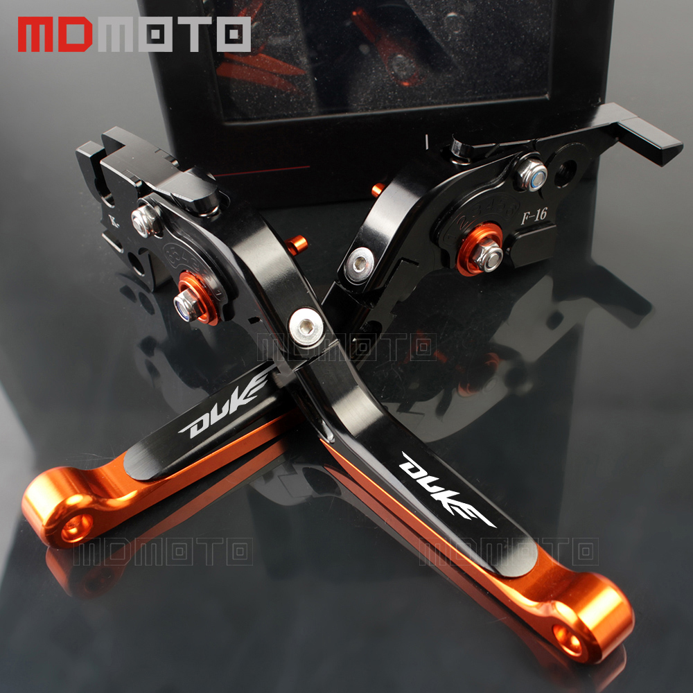 Orange black Color Motorcycle CNC Aliminum Adjustable Folding Extendable Brake Clutch Levers Fit For KTM Duke 125 200 390 duke for ktm rc390 rc200 rc125 125 duke high quality motorcycle cnc foldable extending brake clutch levers folding extendable lever