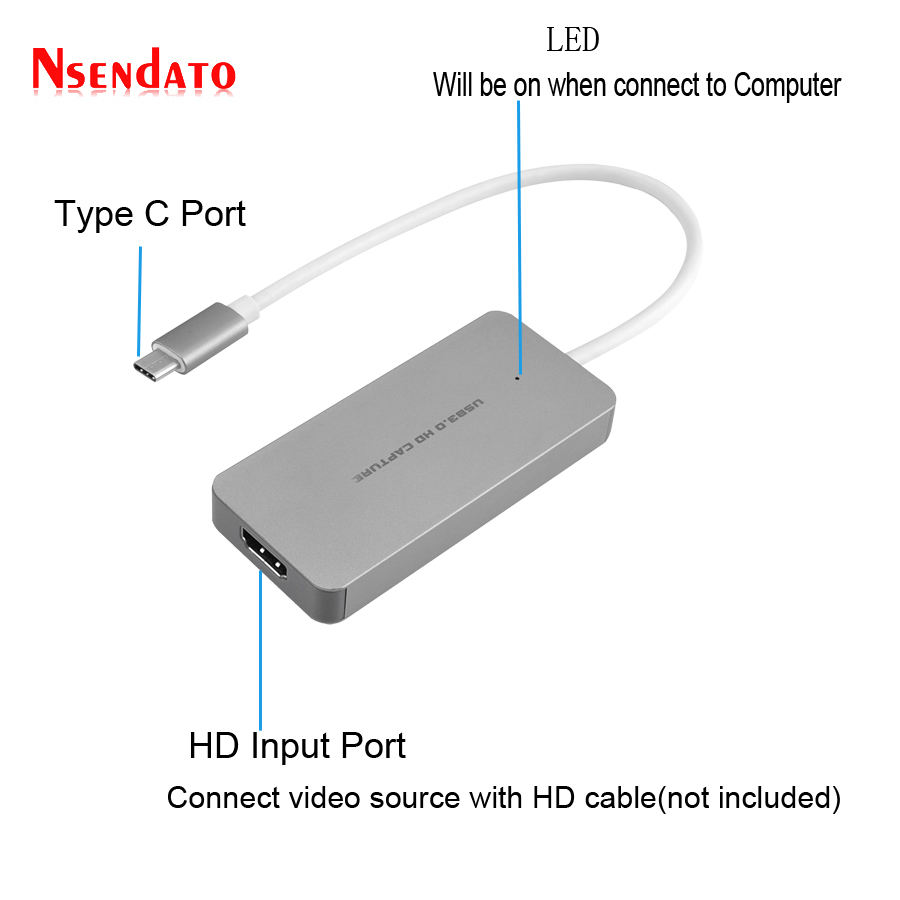 цена на TYPE C USB 3.0 TO HDMI HD Video Capture Card Video Game Recorder 1080P 60fps Live Sreaming Converter for XBOX One PS3 PS4 WIIU