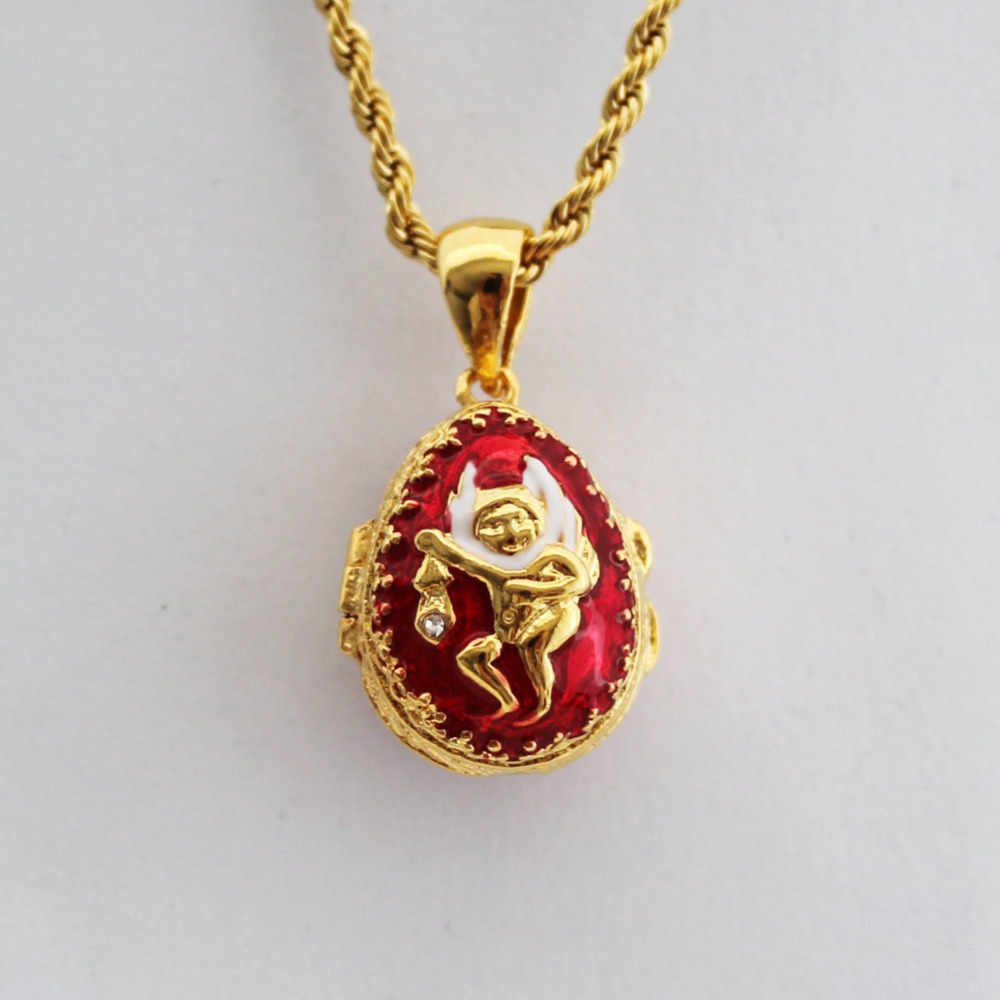 Enamel handmade jewelry can open angel brass faberge egg pendant enamel handmade jewelry can open angel brass faberge egg pendant charm crystal necklace gift to women girls christmas gift in pendants from jewelry mozeypictures Gallery